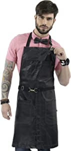Under NY Sky No-Tie Jet Black Apron – Coated Twill with Leather Reinforcement and Split-Leg – Adjustable for Men and Women – Pro Barber, Tattoo, Barista, Bartender, Hair Stylist, Server Aprons