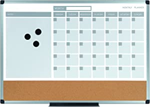 "MasterVision MB0707186P Planning Board 3-in-1 Calendar Dry Erase, 24"" x 36"" with Aluminum Frame"