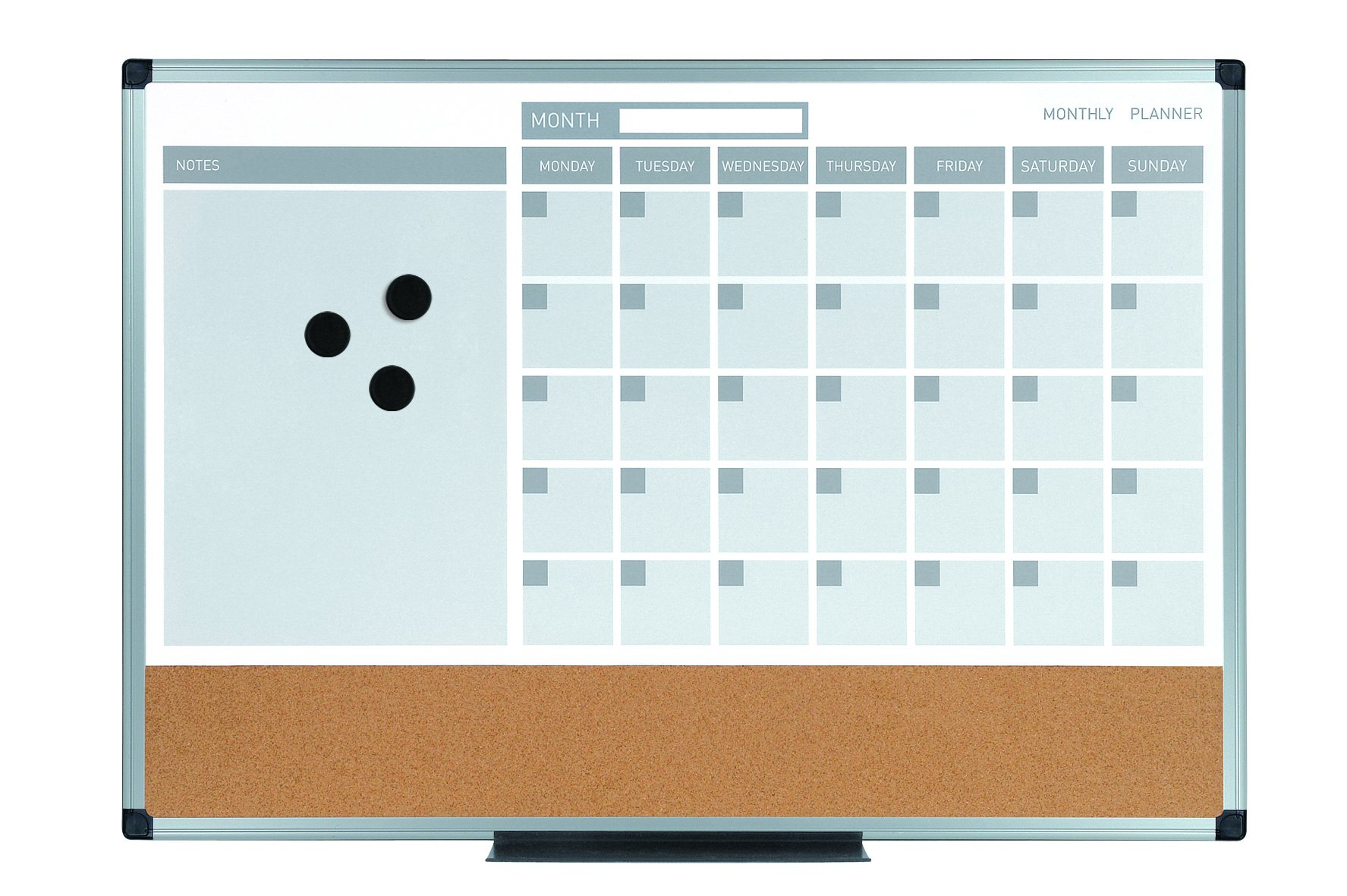 MasterVision MB0707186P Planning Board 3-in-1 Calendar Dry Erase, 24'' x 36'' with Aluminum Frame
