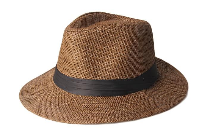 Dantiya Paper Straw Fedora Cap Panama Hat (Coffee)  Amazon.ca ... e63a0aabaa99