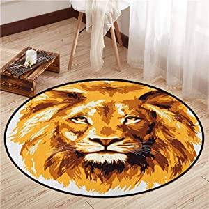 "Skid-Resistant Rugs,Safari,Illustration of The Lion King Biggest Cat in Africa Icon Animal in Tropics Artwork,Rustic Home Decor,4'7"" Orange White"