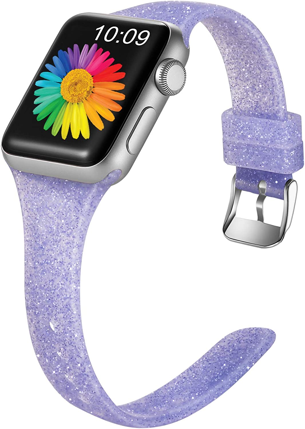 Getino Glitter Band Compatible with Apple Watch 40mm 38mm iWatch SE & Series 6 & Series 5 4 3 2 1, Soft Silicone Slim Sport Bands for Women Girls Kids, Shiny Purple, S/M
