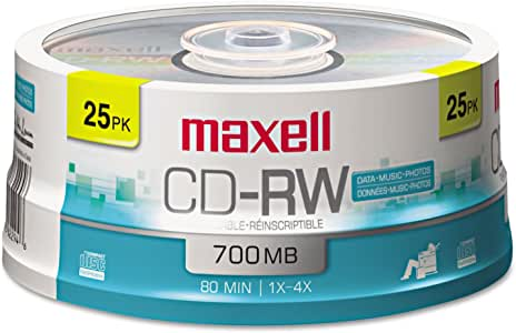 Maxell CD-RW Rewritable Media Spindle, 700MB/80 Minutes, 1x-4x, Pack of 25