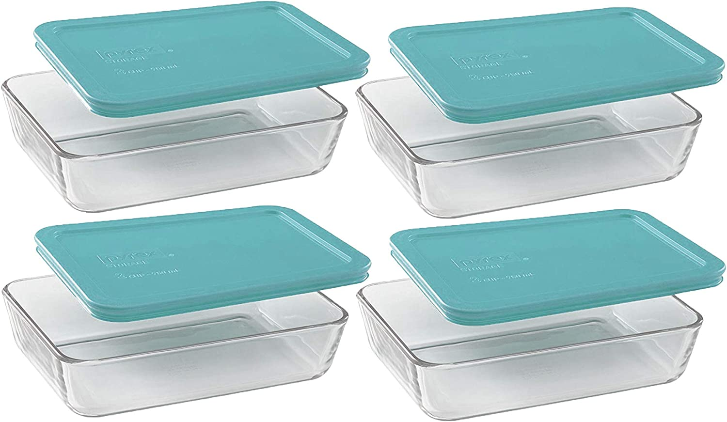 Pyrex Basics Clear Glass Food Storage Dishes, 4 (3-Cup) Oblong Dishes with Turquoise Plastic Lids