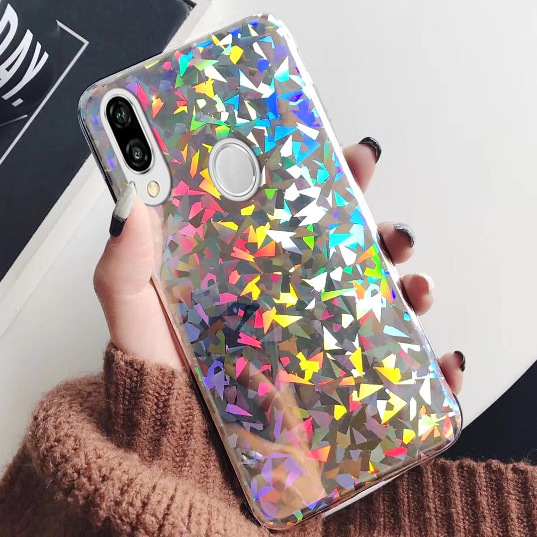Huawei P20 Lite Case, Huawei P20 Lite Case for Girls,ikasus Slim Luxury Glitter Sparkle Bling Cute Case with Rave Holographic Laser Gorgeous Glossy Flexible Soft Rubber TPU Cover Case for Huawei P20 Lite,Polka Dot