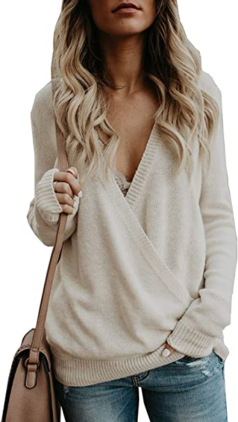 Women Ladies Sweater,Sexy Knitted Deep V-Neck Long Sleeve Wrap Front Loose Sweater Pullover Jumper Tops