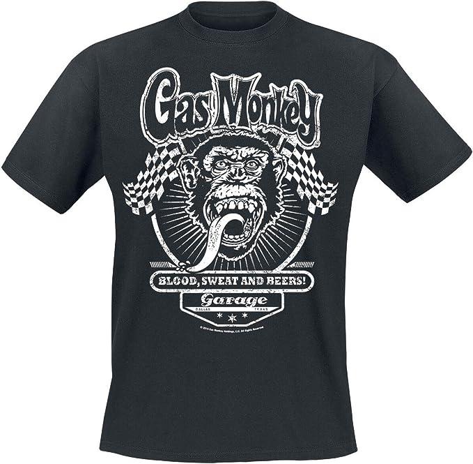 Gas Monkey Garage Flags Männer T Shirt Schwarz Fan Merch Rockabilly Tv Serien Bekleidung