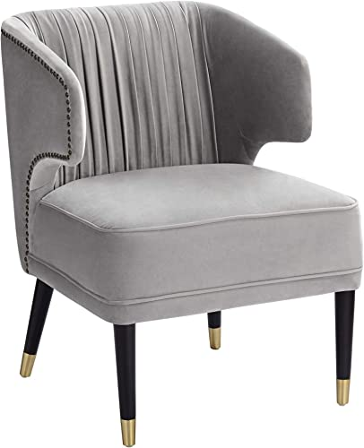 Kara Gray Velvet Pleated Arm Chair