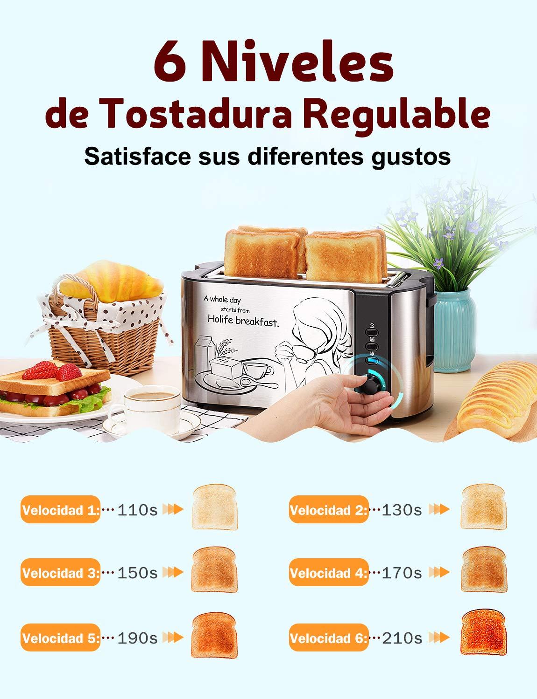 Holife Tostadora, Tostadoras Pan Ancho y Largo, Tostador 4 rebanadas de 6 Nivel Ajustables, 1500 W, Función de Descongelar/Recalentar/Calentar, ...