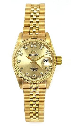 Reloj Orient automático de Mujer, Dorado con circonitas en Esfera, NR16001G.: Amazon.es: Relojes
