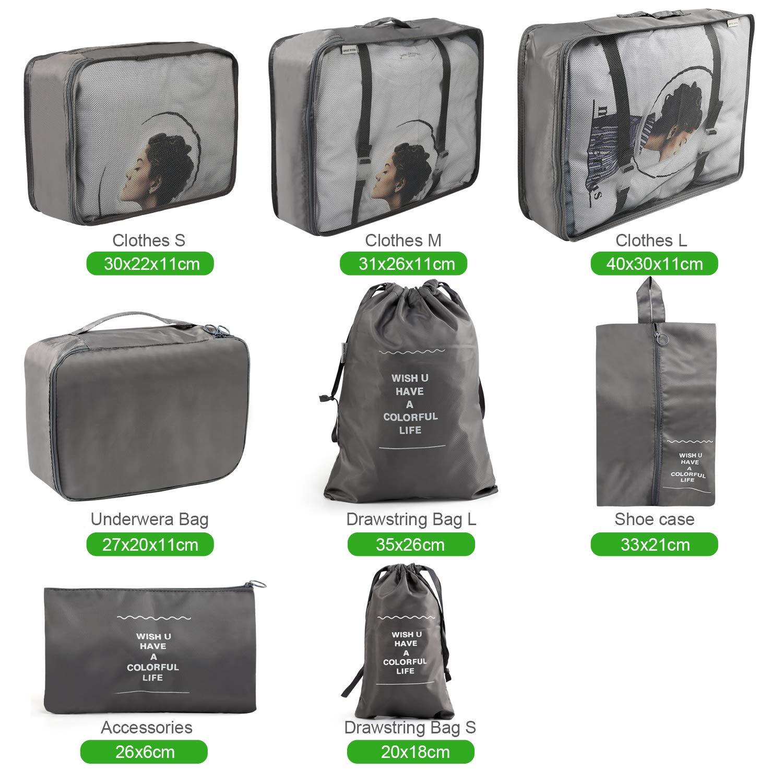 Cosm/étiques Chaussures Emballant des Cubes Sac de Blanchisserie Bagage Sacs de Compression pour des V/êtements LinStyle Ensemble de 8 Organisateurs de Voyage Cactus Blanc