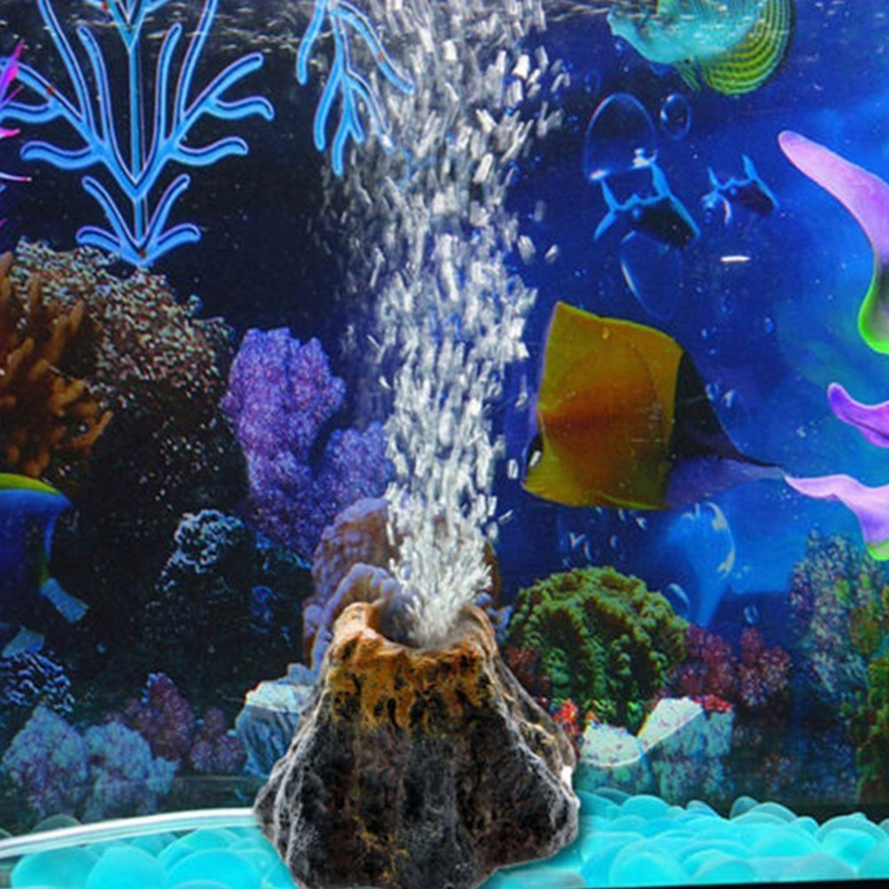 Adorno para acuario en forma de volcán y piedra de burbujas de aire, bomba de oxígeno; decoración para pecera: Amazon.es: Productos para mascotas