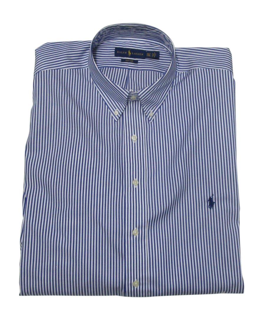 Ralph Lauren Men's Dress Shirt Big and Tall Long Sleeve Poplin Stretch Cotton (3XLT, Blue/White Stripe)