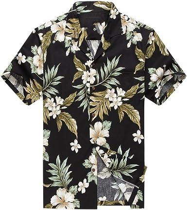 Made en Hawaii Camisa de la Hawaiana de los Hombres Hoja Floral del racimo en Negro and Verde: Amazon.es: Ropa y accesorios