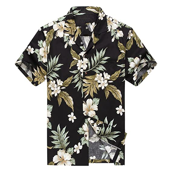 57430784 Made in Hawaii Men's Aloha Shirt Cluster Floral Leaf in Black and Green:  Amazon.co.uk: Clothing