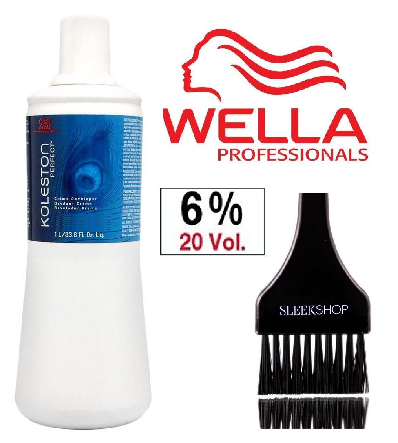 Wella KOLESTON PERFECT Cream Developer (with Sleek Tint Brush) (20 Volume/6% - 33.8 oz liter) by Wella