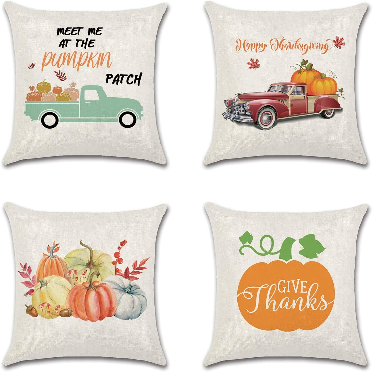 Korlon Set of 4 Fall Pillow Covers 18x18, Thanksgiving Pillow Covers, Holiday Decorative Pillow Covers: Pumpkin, Happy Fall, Harvest Truck, Pillow Covers for Thanksgiving Decor