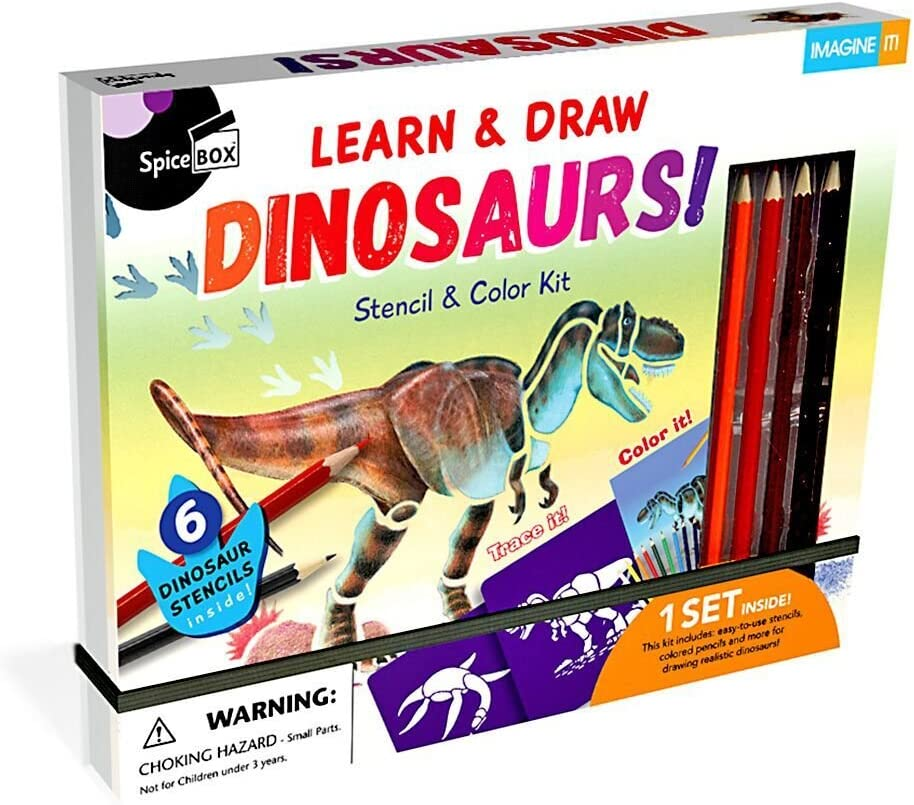 SpiceBox Learn /& Draw Dinosaurs Stencil and Color Kit