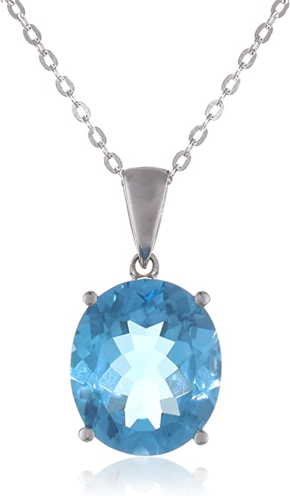 Sky Blue Topaz Faceted Oval Pendant Necklace Sterling Silver