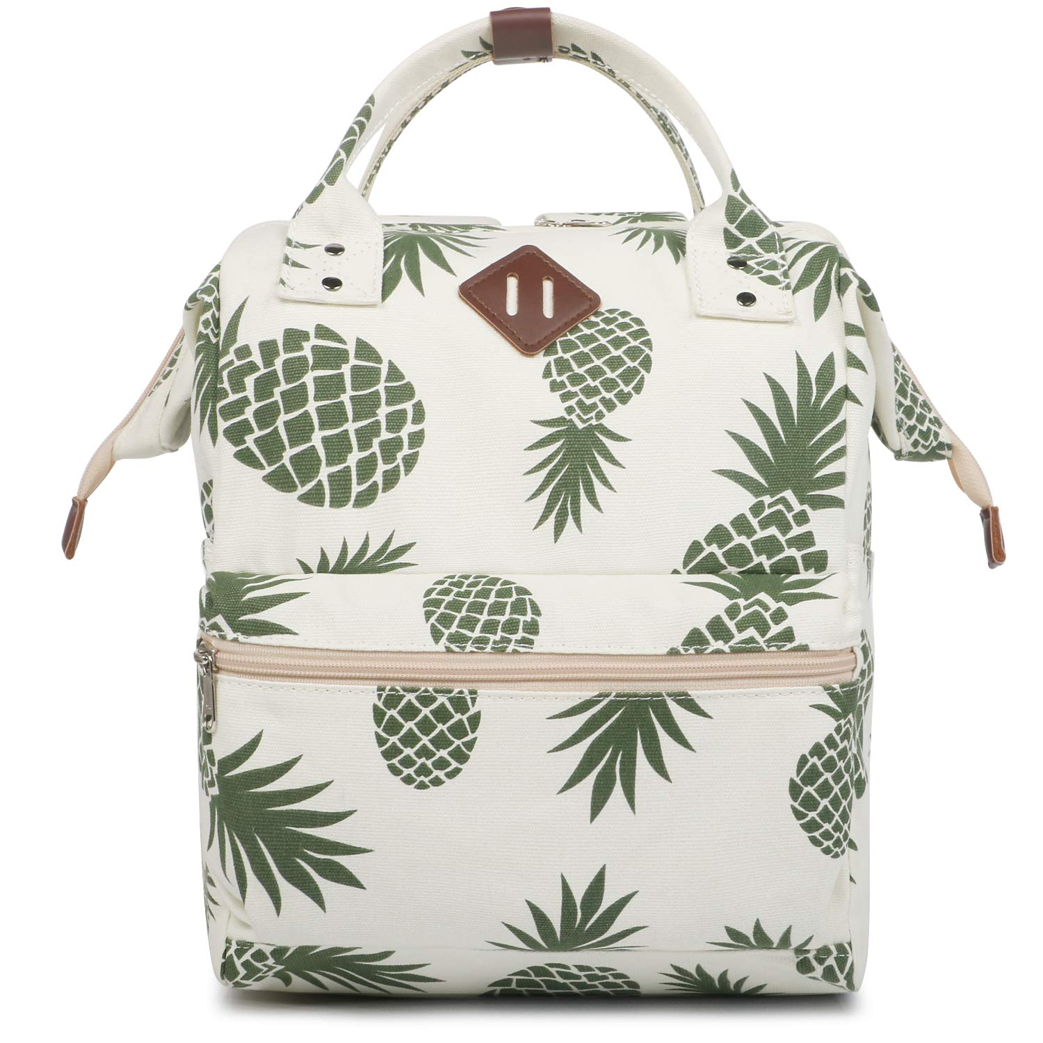 Oflamn Doctor Style Backpacks – Top Open Multipurpose Canvas Casual Daypack Laptop Backpack Travel Bag for Men and Women Pineapple