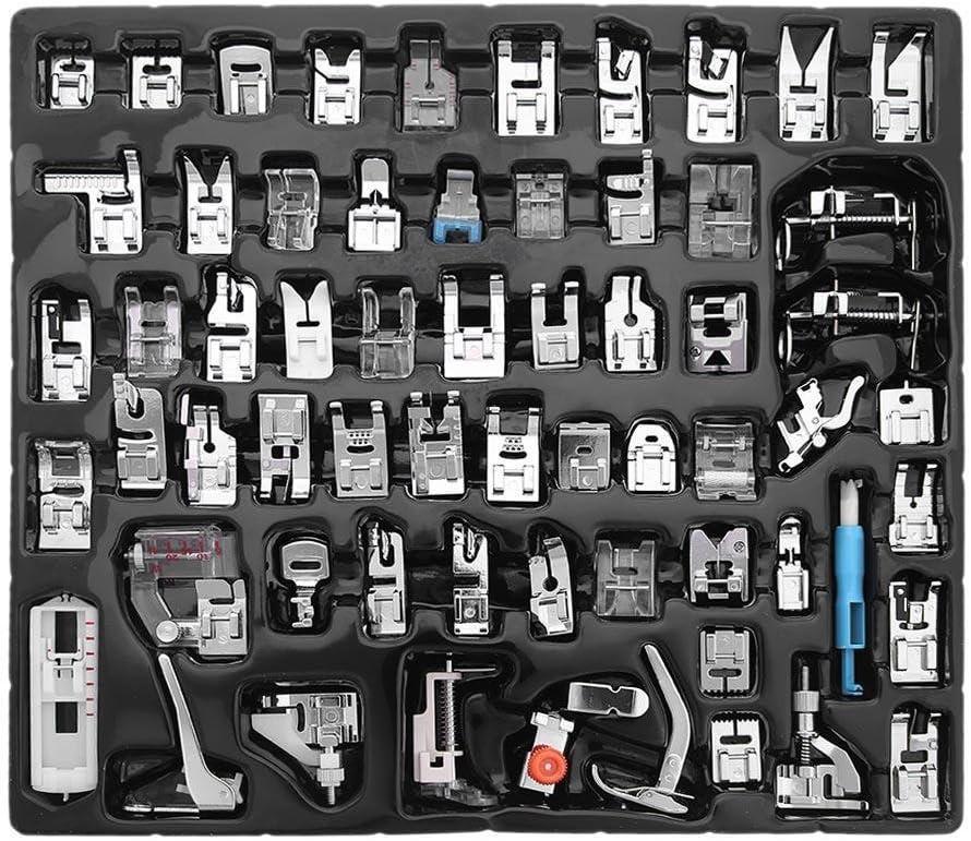 Agile-Shop-Juego de 62 prensatelas para máquina de coser doméstica, para brother, Babylock,Singer,Janome,Elna,Toyota,Simplicity,Necchi,Kenmore,y máquinas de coser de vástago bajo, color blanco
