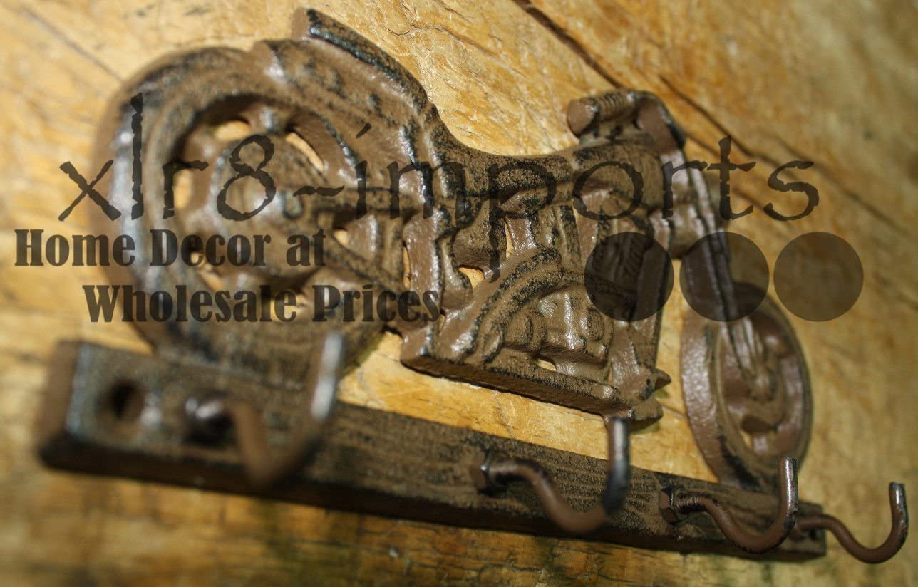 Key Rack BIKE RIDER HARLEY Coat Hooks Cast Iron MOTORCYCLE Towel Hat Hook