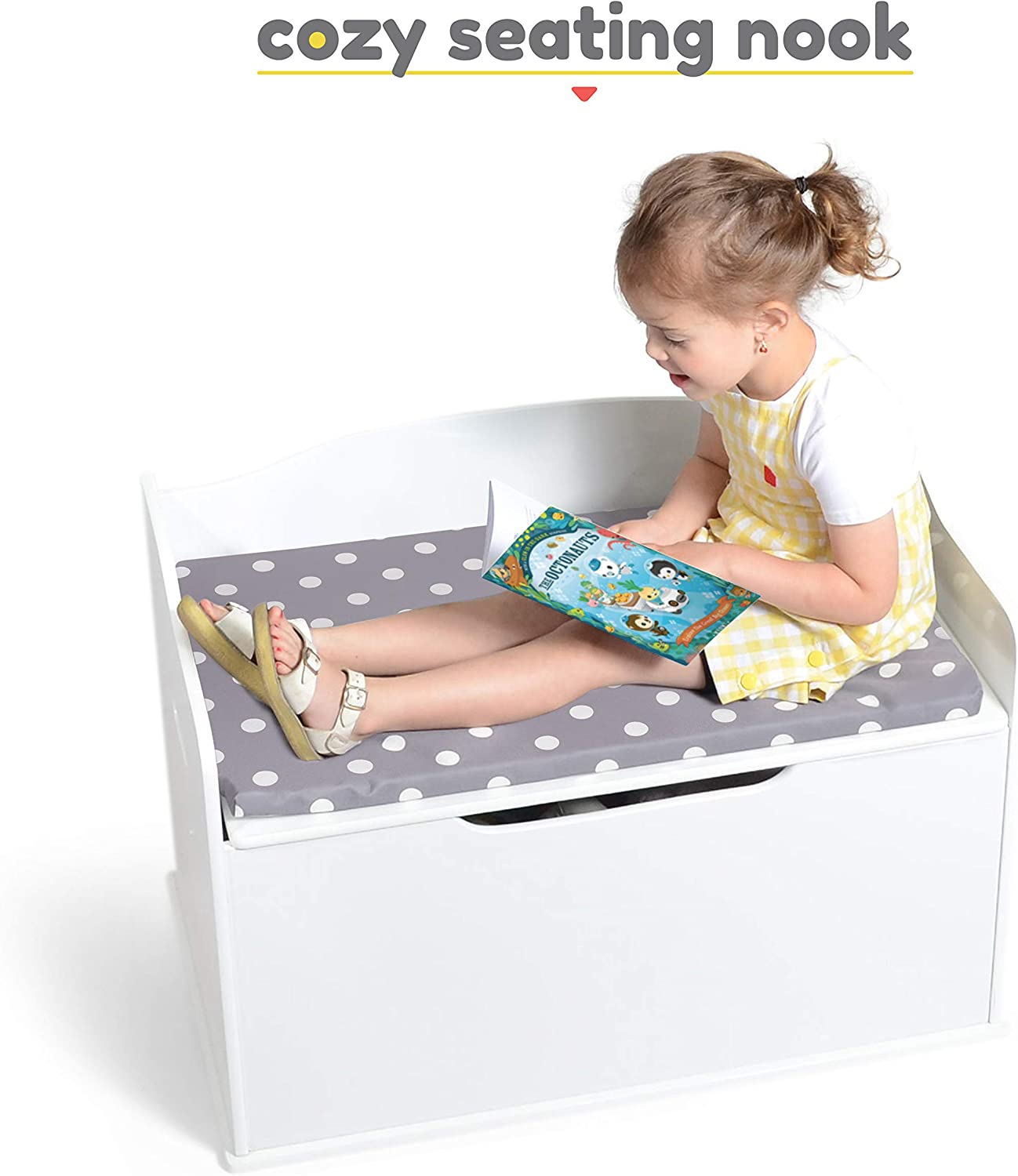 Kids Large Sided White Wooden Bench Toy Chest Organiser Storage Box Nursery Seat