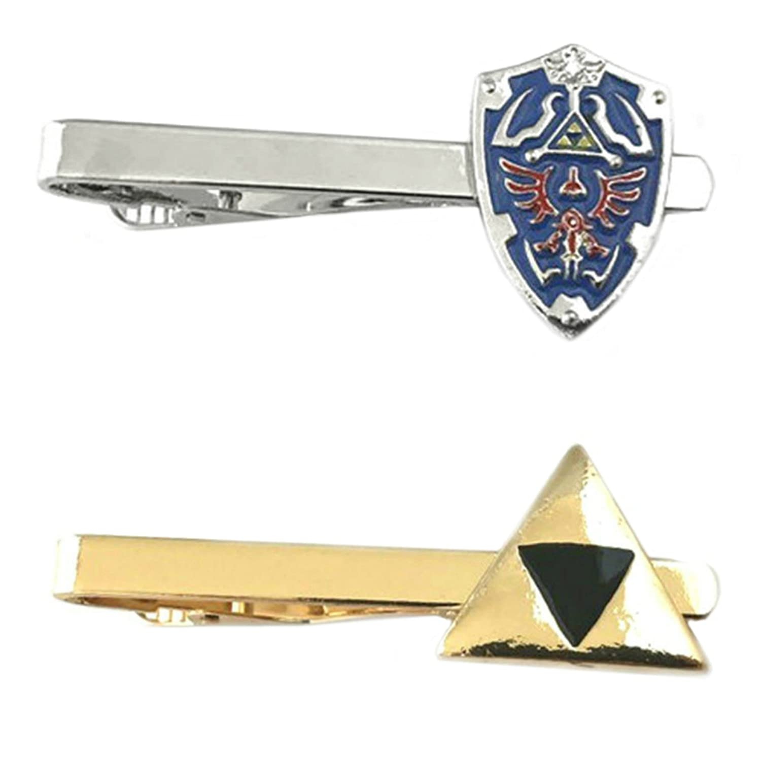Outlander Video Games - Legend of Zelda Shield & Legend of Zelda Triforce - Tiebar Tie Clasp Set of 2 Wedding Superhero Logo w/Gift Box Outlander Brand