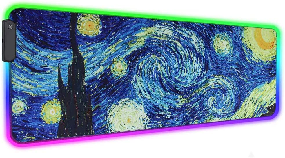 LIZIMANDU Gaming Mouse Pad,Extended Large Pattern Anti Slip Stitched Edges Long XXL Mousepad,Desk Pad Keyboard Mat, Non-Slip Base, Water-Resistant, for Office Home (1-RGB-Starry Sky, 1 Pack)