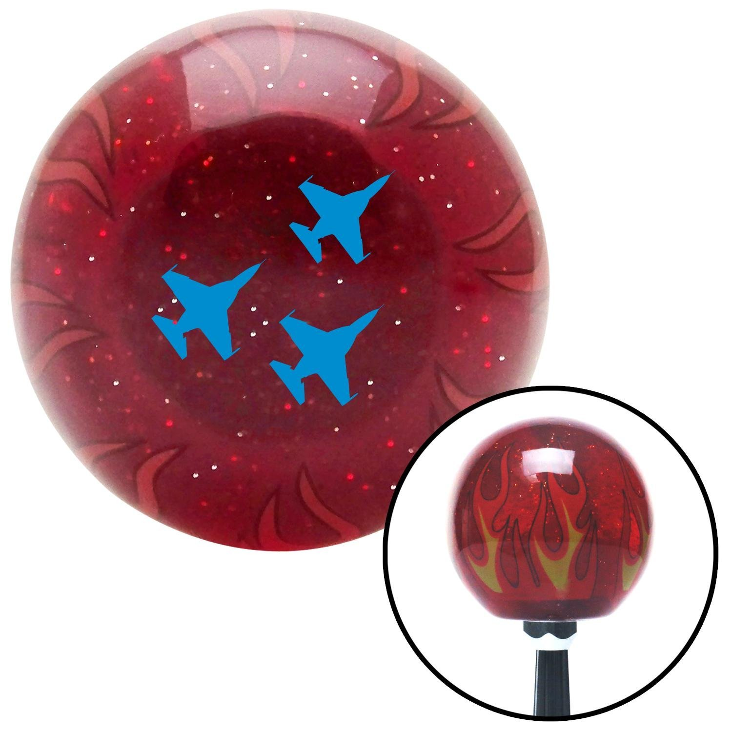 American Shifter 240211 Red Flame Metal Flake Shift Knob with M16 x 1.5 Insert Blue Jet Formation