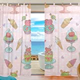 Wonderful Cupcakes Pattern Sheer Decor Window Treatments Draperies Fabric Curtains  Panels For Living Room Bedroom Tulle Curtain