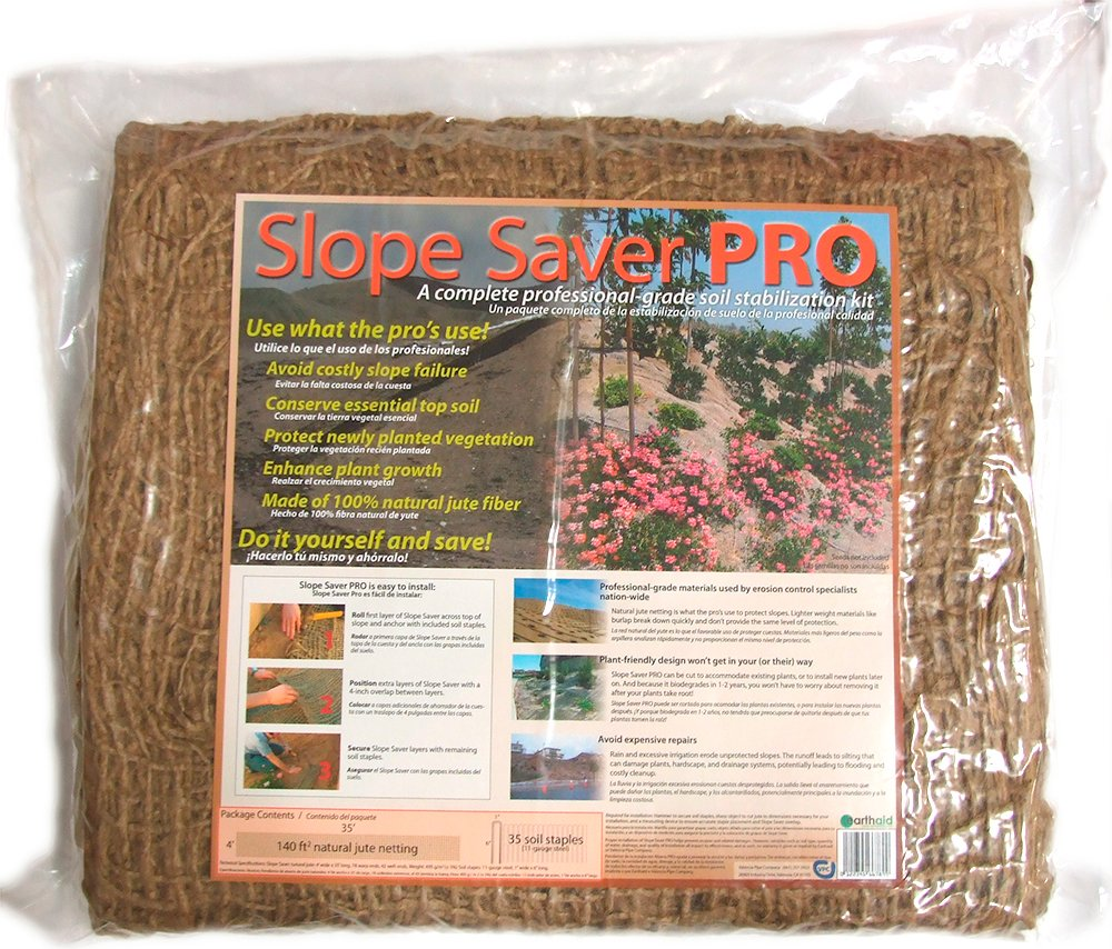 EarthAid Slope Saver PRO Erosion Control Kit (140 Square Feet Jute Netting, 52 Steel Soil Staples) by EarthAid