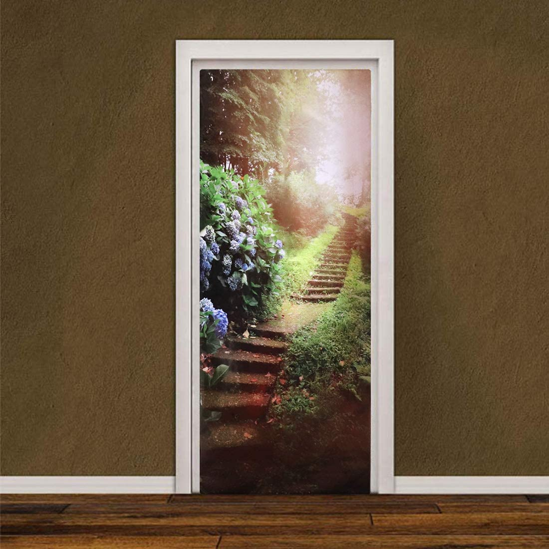 3D Door Stickers Landscape Decor Forest Sunshine Door Mural Art Sticker Wallpaper Wall Sticker Removable Self Adhesive Wall Window Decal for Home Office Decor 30.31 x 78.74 Inch