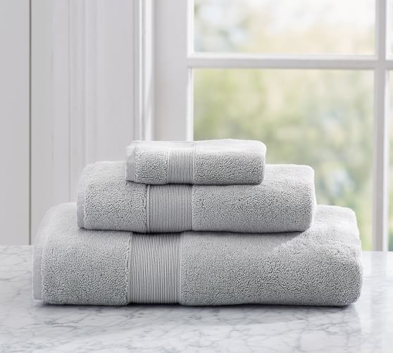 Pottery Barn Classic 820-Gram Weight Bath Towels | Hand Towel in Gray Mist