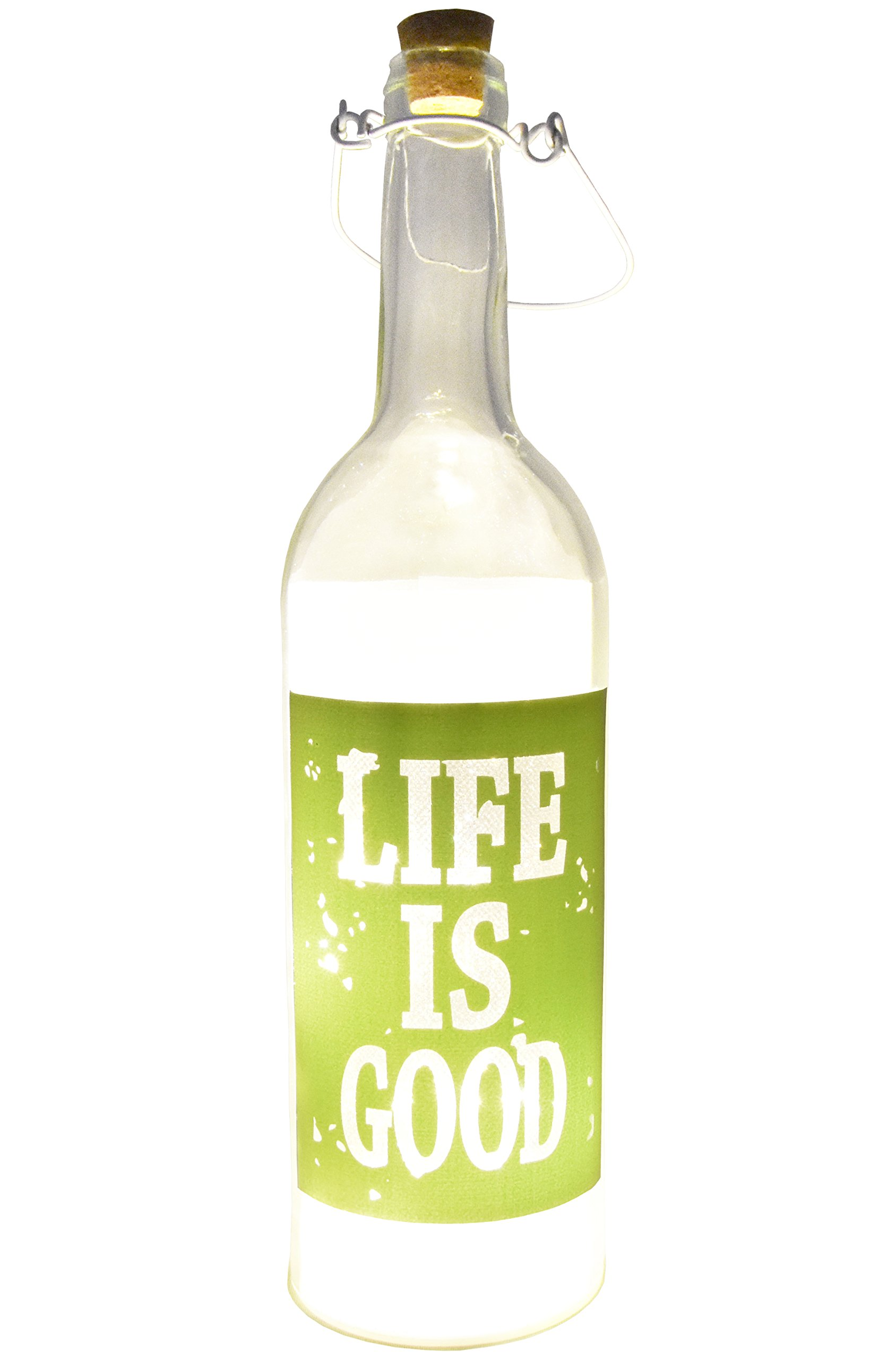 Fairy Lights LED Lamp Decorative Wine Bottle Light Lamps for Women, Indoor and Outdoor Home Decor (Green,Life is Good)