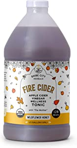Fire Cider, Tonic, 64 oz (Half Gallon), Wildflower Honey Flavor, 128 Daily Shots, Apple Cider Vinegar, Whole, Raw, Organic, Not Heat Processed, Not Pasteurized, Not Diluted, Paleo, Keto, Whole 30.