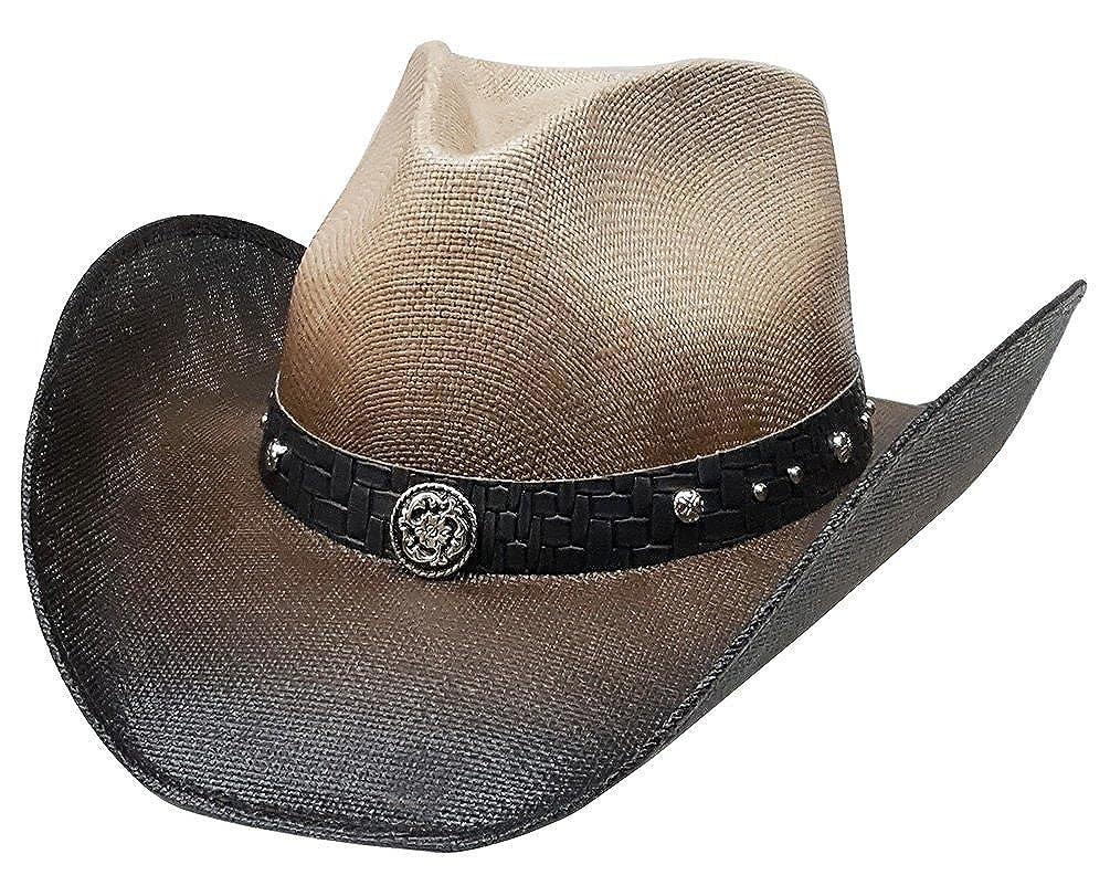 Modestone Straw Cowboy Hat Metal Texas Sheriff Star Concho /& Chain Links Hatband