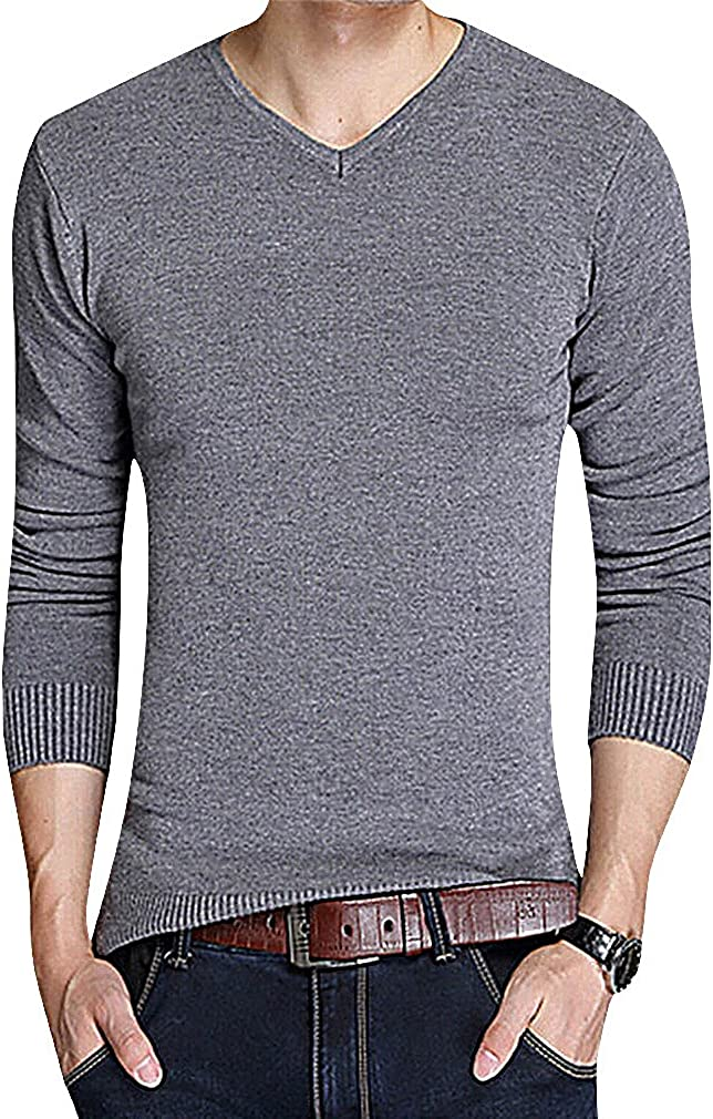 Mancave Men Cashmere Wool Mix Solid Color V Neck Slim Fit Full Sleeve Sweater M Darkgray XS,Manufacturer