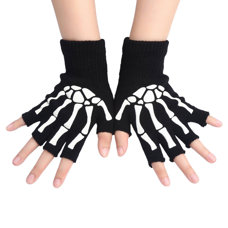 KIQ Women's Skeleton Touchscreen and Fingerless Knit Cycling Gloves