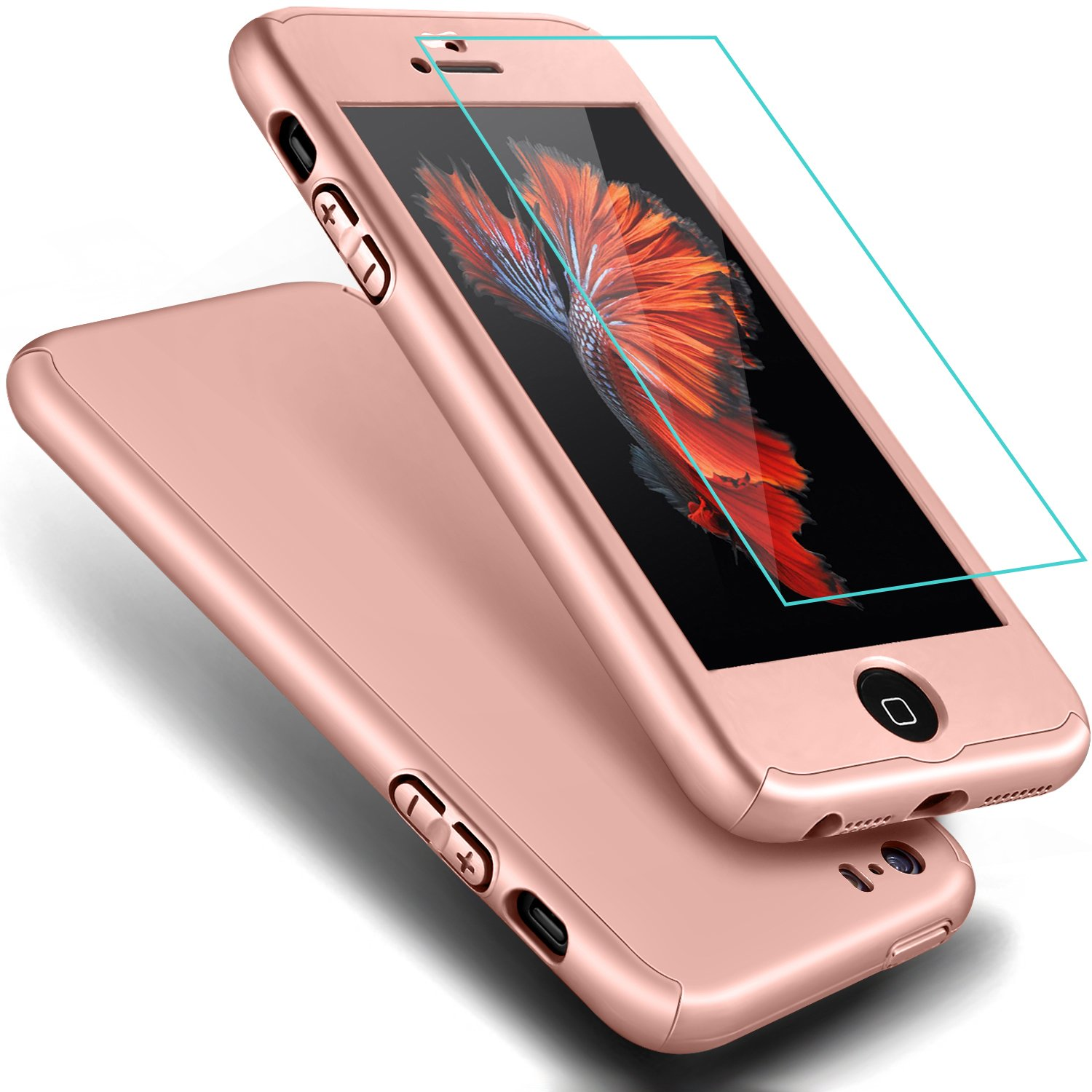 check out 9ac35 609a4 iPhone 5 Case,iPhone 5S Case, COOLQO Full Body Coverage Ultra-thin Hard  Hybrid Plastic with [Slim Tempered Glass Screen Protector] Protective Case  ...