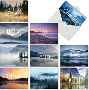 The Best Card Company - 10 Blank Inspirational Note Cards Boxed (4 x 5.12 Inch) - Wordscapes M6581OCB