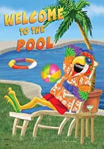 Briarwood Lane Welcome to The Pool Summer House Flag Parrot Tropical 28