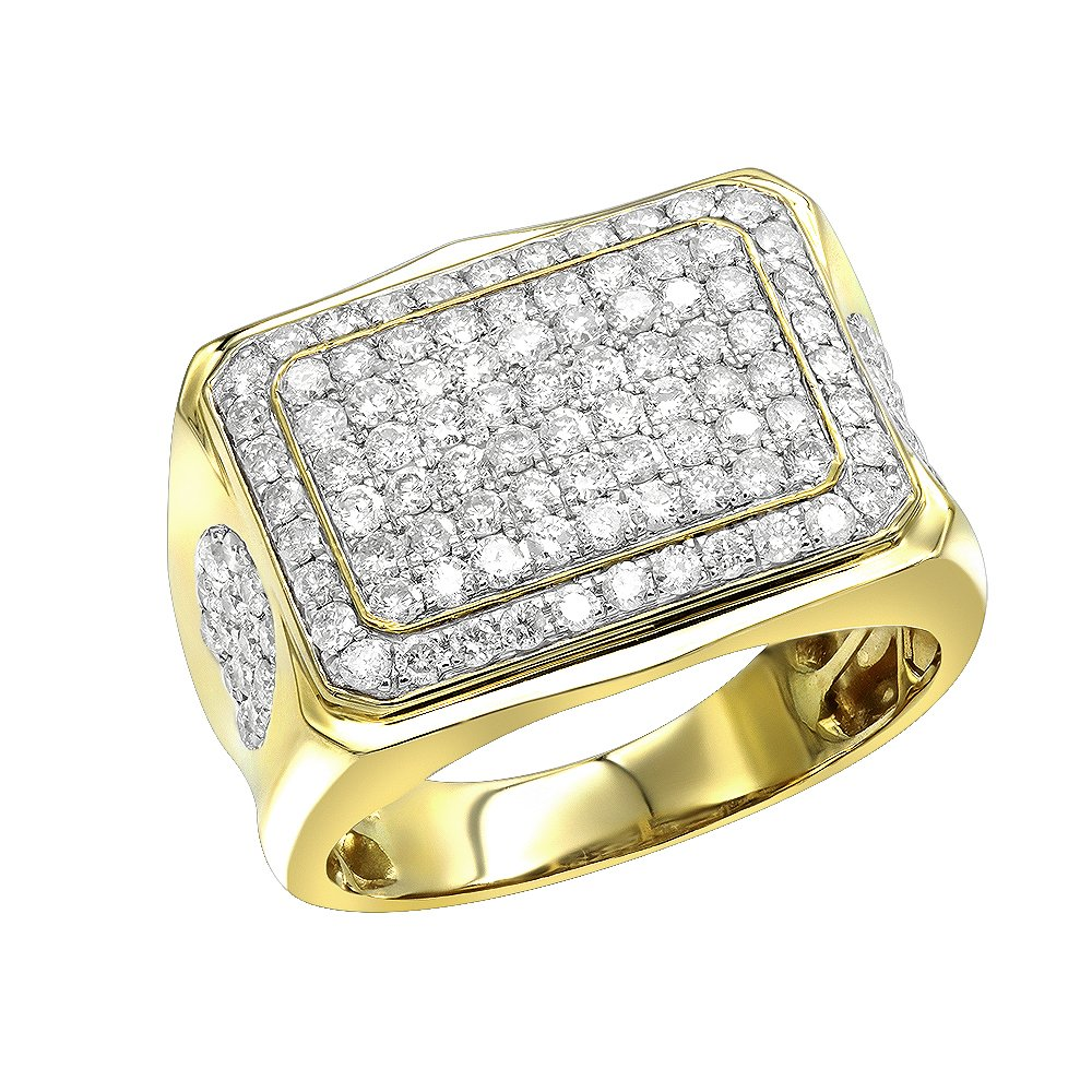 Men's Affordable Band 10K Gold 2 Carats Diamond Ring (Yellow, Size 9.5)