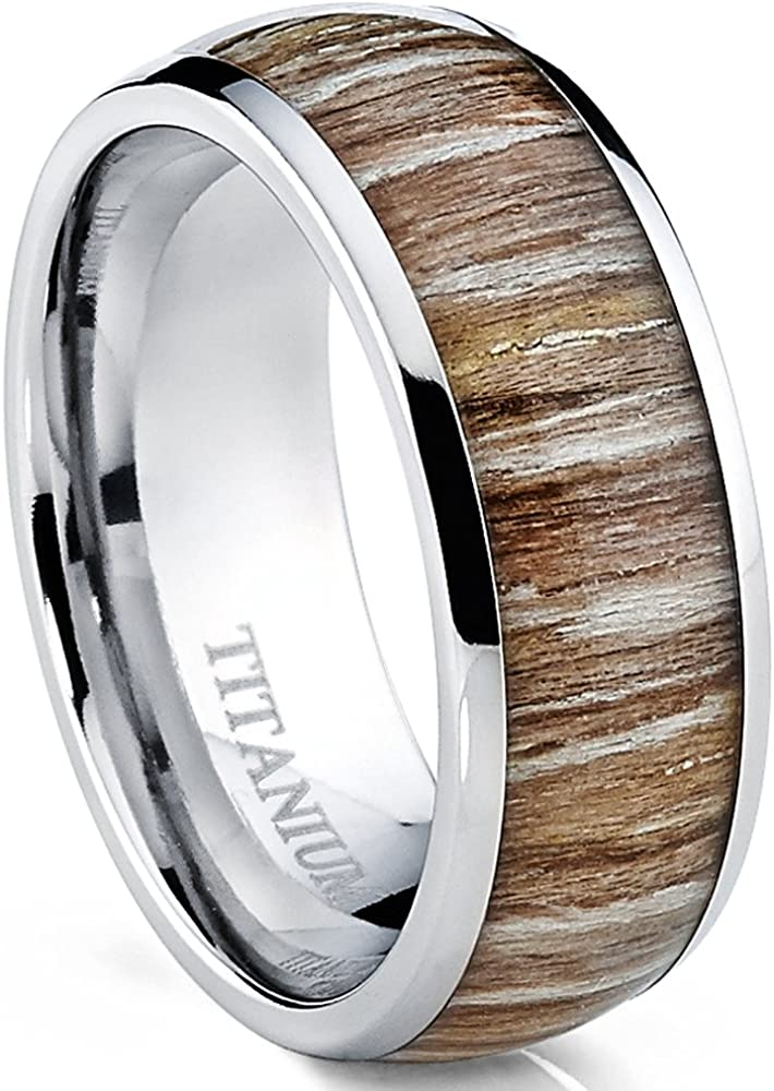 Metal Masters Co. Titanium Ring Wedding Band, Engagement Ring with Real Wood Inlay, 8mm Comfort Fit Sizes 6 to 13