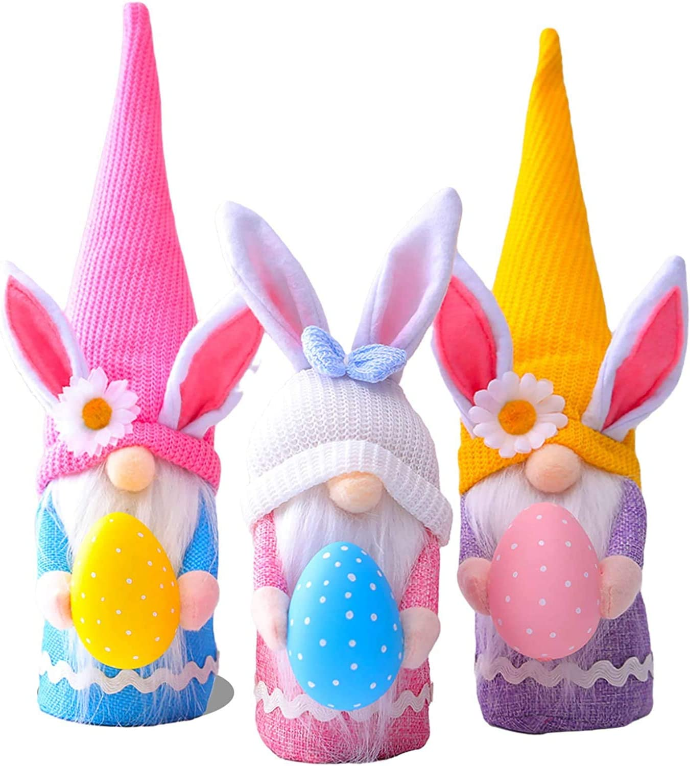 3Pcs Easter Decorations,Easter Gnome Bunny Faceless Plush Doll Decor with Easter Egg, Handmade Easter Gifts Toys for Kids/Women/Men, Spring Easter Home Decorations Tree Ornaments