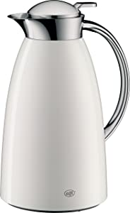 alfi Gusto Glass Vacuum Lacquered Metal Thermal Carafe for Hot and Cold Beverages, 1.0 L, White