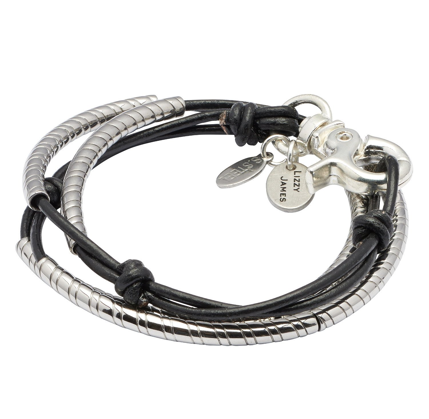 Mini Lasso 2 Strand Stainless Steel Small Bracelet With Natural Black Leather by Lizzy James