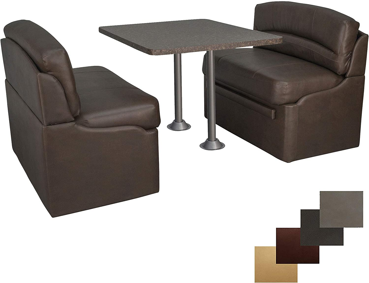 RecPro New 38 RV Dinette Booth Set with Table and 2 Surface Mount Legs Two Dinette Booths Granite Chocolate, Chestnut
