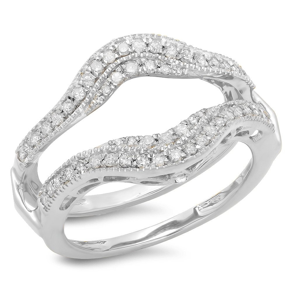 0.52 Carat (ctw) 10K White Gold White Diamond Ladies Wedding Enhancer Double Ring 1/2 CT (Size 7)