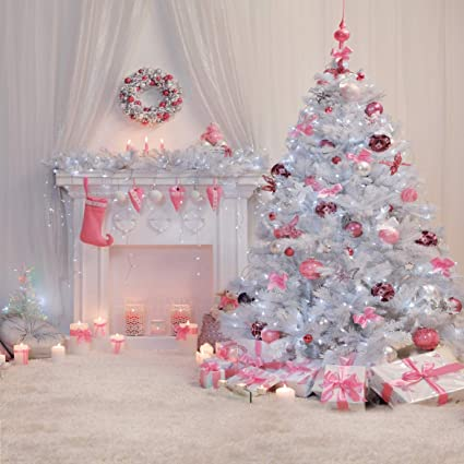 Aiikes 10x10ft 3mx3m Pink Christmas Tree Photography Background Fireplace Photo Studio Christmas Newborn Photography Backdrops Christmas Decorations
